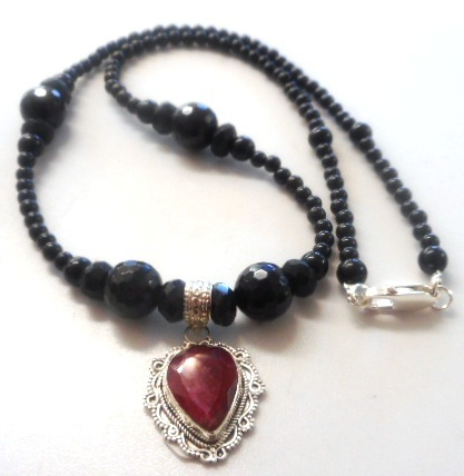Rubi and black tourmaline necklace